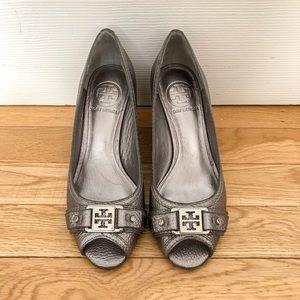 Tory Burch Silver Peep Toe Wedge Heels